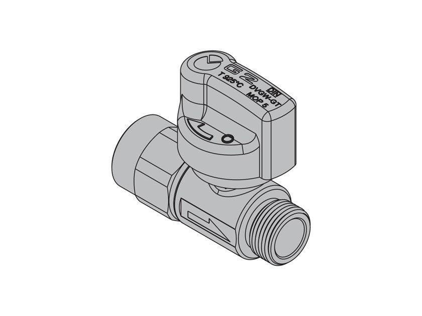 Valves for gas appliances with hoses G2 Straight valve with FIREBAG® threaded by TECO