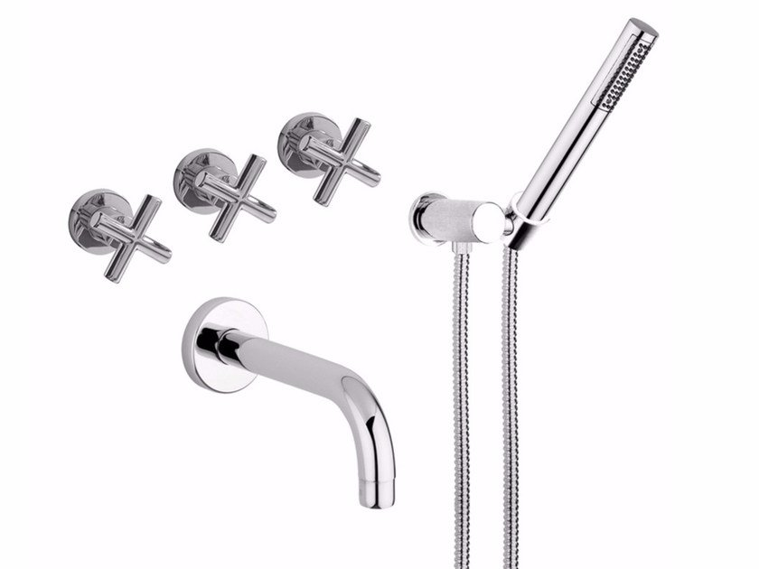 Wall-mounted bathtub tap with hand shower G3 - F7603 by Rubinetteria Giulini