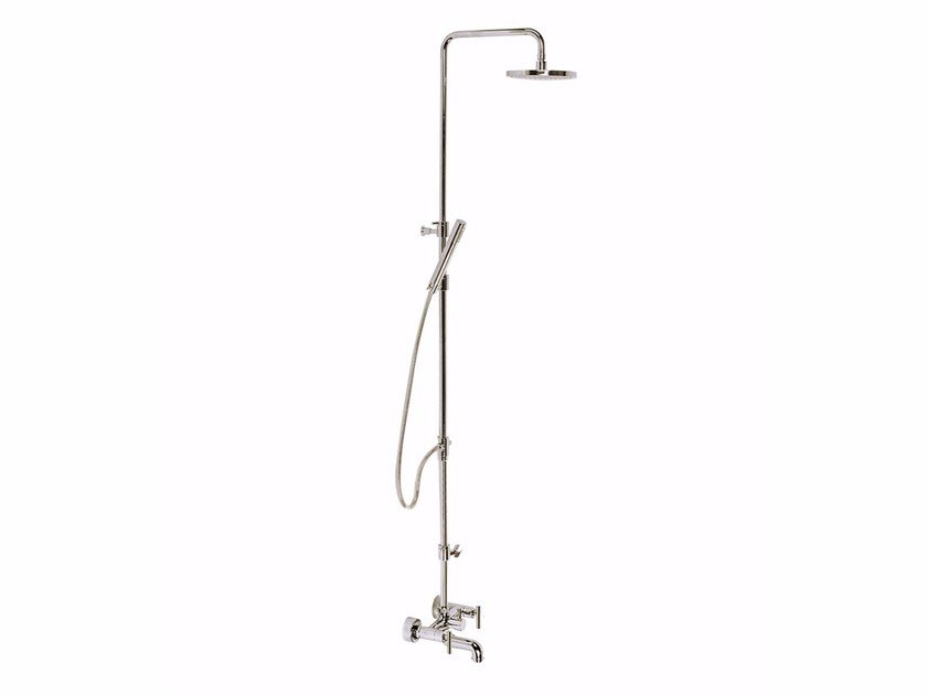 Wall-mounted shower panel with hand shower with overhead shower G4 - F7700WC-S by Rubinetteria Giulini