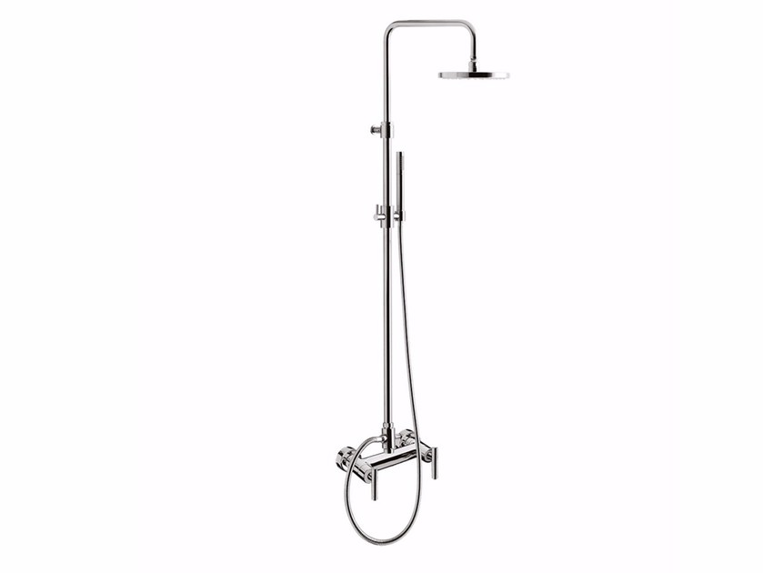 Wall-mounted shower panel with hand shower with overhead shower G4 - F7707WC-S by Rubinetteria Giulini