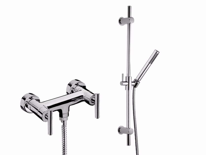 Shower wallbar with hand shower G4 - F7707WS by Rubinetteria Giulini