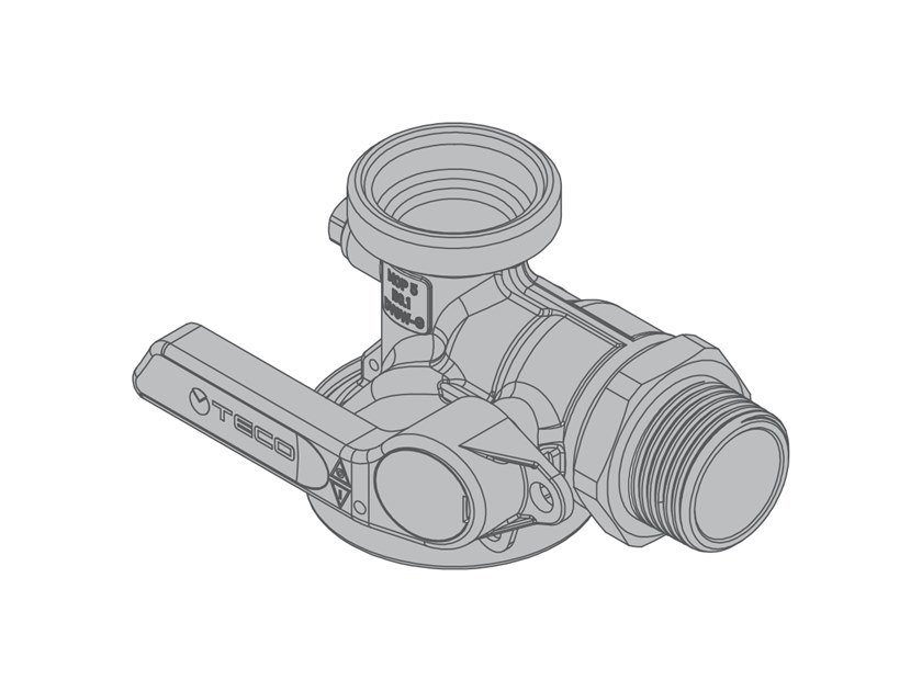 Right-angle valve for single-pipe gas meter G6 90° threaded valve with connection by TECO