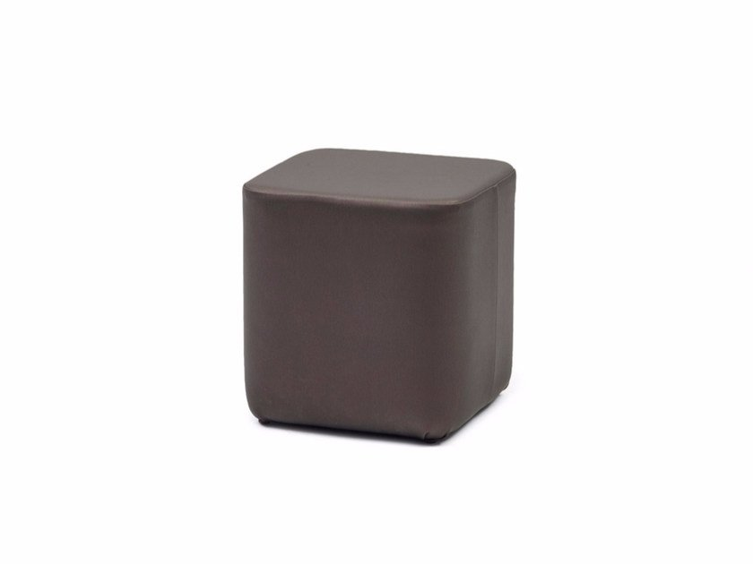 Upholstered leather pouf GALA CUBE X by Z-Editions
