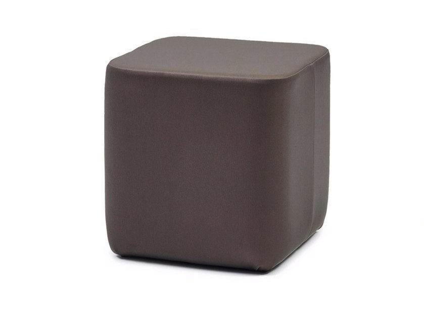 Upholstered leather pouf GALA CUBE XL by Z-Editions