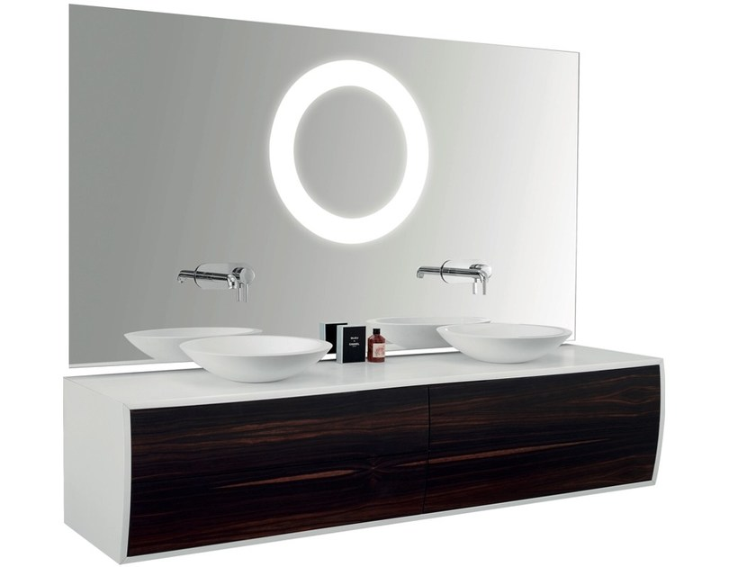 Double wall-mounted vanity unit with mirror GALBE   Double vanity unit by Swiss Concepts