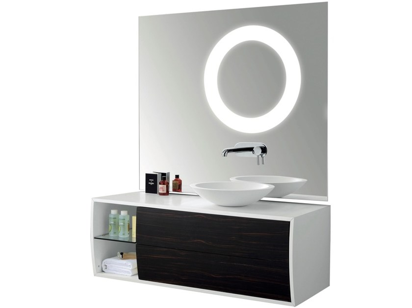 Single wall-mounted vanity unit with mirror GALBE | Single vanity unit by Swiss Concepts