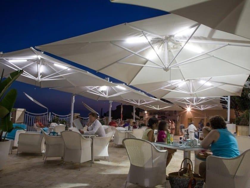 Square retractable Garden umbrella with built-in lights GALILEO MAXI | Garden umbrella with built-in lights by Scolaro Parasol