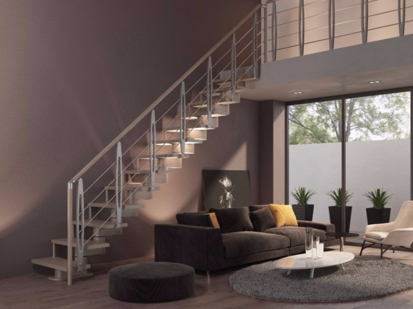 Straight beech Open staircase with central stringer GAMMA | Straight Open staircase by RINTAL