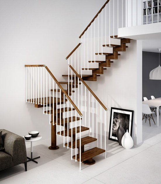 U-shaped beech Open staircase with central stringer GAMMA | U-shaped Open staircase by RINTAL