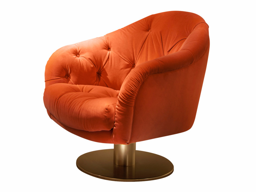 Tufted swivel fabric armchair GARBO by SOFTHOUSE