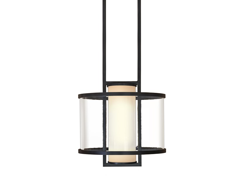 Direct light glass and steel pendant lamp GARDA by Kevin Reilly Collection