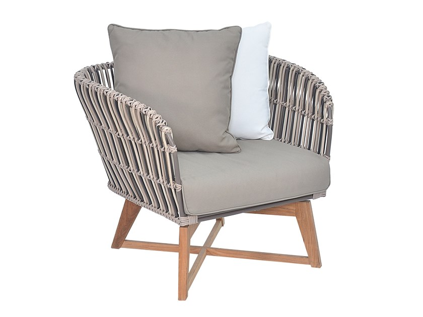 Synthetic fibre garden armchair with armrests BROMO | Garden armchair by cbdesign