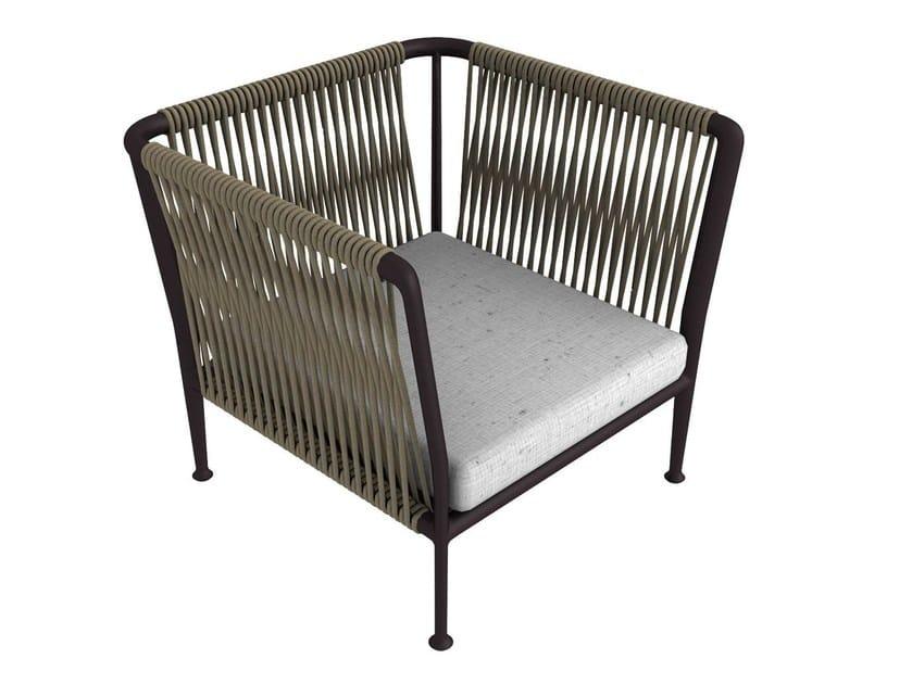 Rope garden armchair with armrests TREBLE | Garden armchair by Unopiù