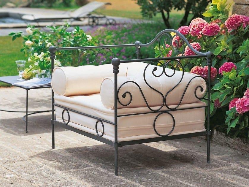 Iron garden armchair with armrests AURORA | Garden armchair by Unopiù