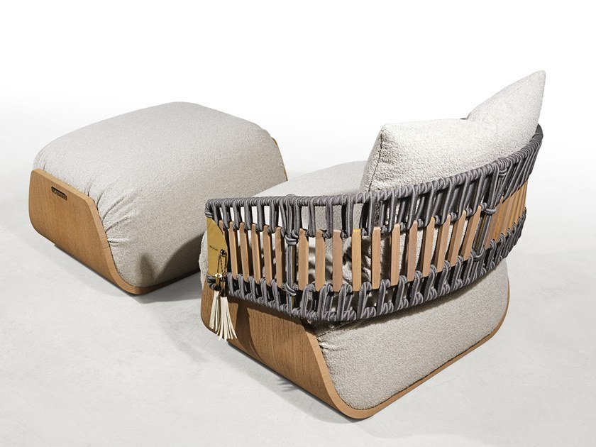 Upholstered fabric garden armchair with armrests KATHRYN   Garden armchair by Visionnaire