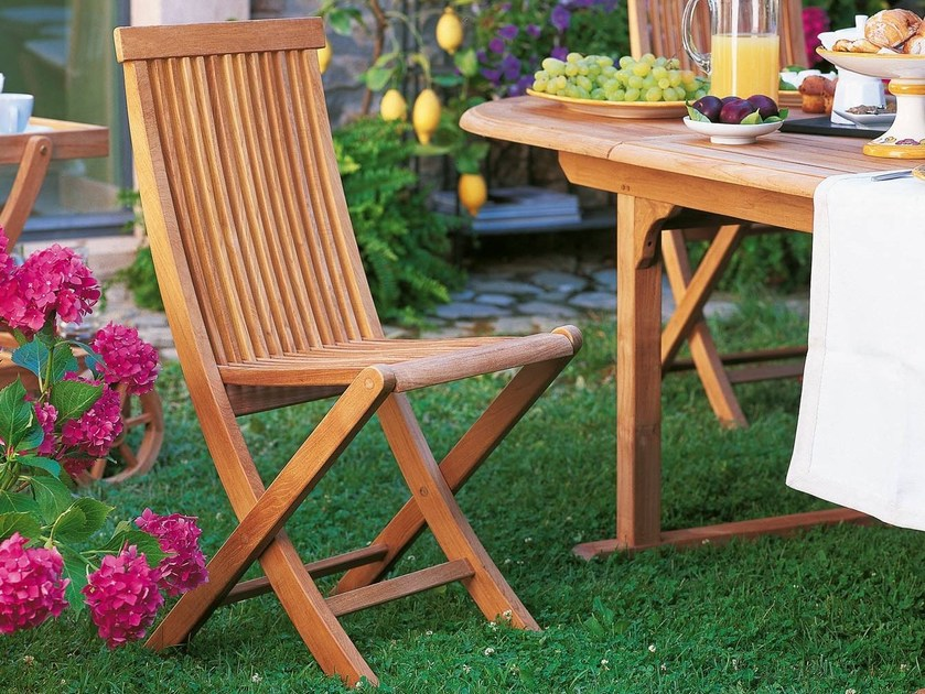 Folding teak garden chair WILLIAM | Garden chair by Unopiù