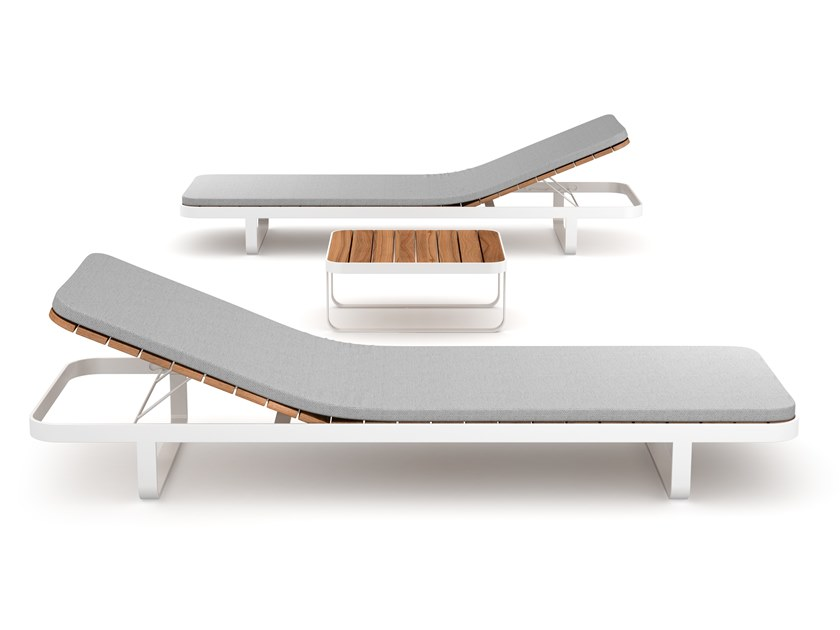 Recliner aluminium and wood garden daybed MAKEMAKE | Garden daybed by Déco