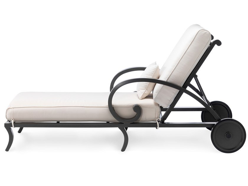 Recliner aluminium garden daybed with armrests CENTURIAN | Garden daybed by Oxley's Furniture