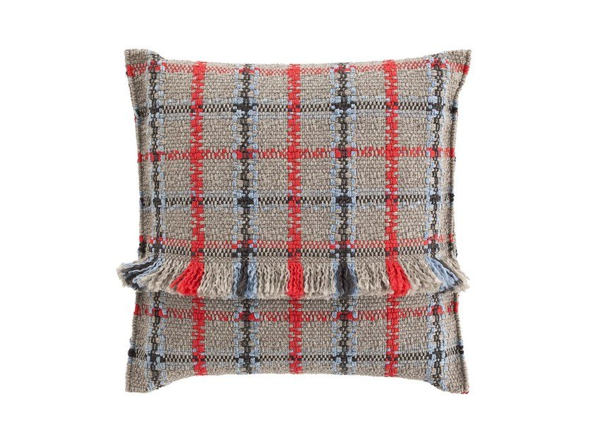 Square tartan outdoor polypropylene cushion GARDEN LAYERS BLUE | Square cushion by GAN