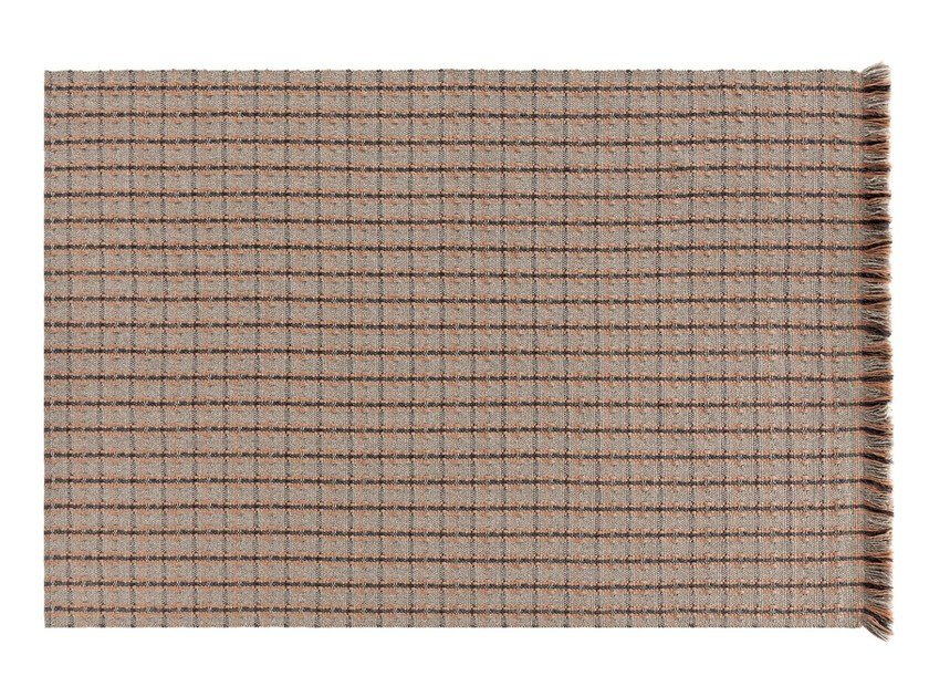 Rectangular polypropylene outdoor rugs with geometric shapes GARDEN LAYERS TERRACOTTA | Rectangular rug by GAN