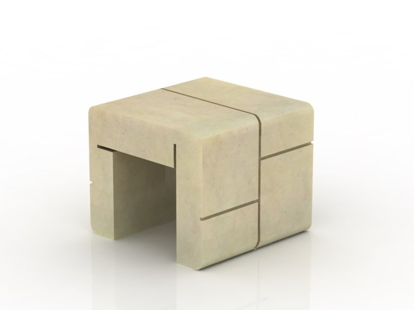 Beau Low Reconstructed Stone Garden Stool MOD | Low Stool By Manufatti Viscio