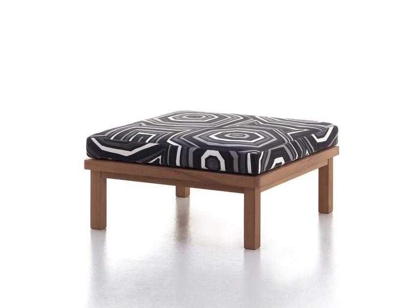 Square iroko garden footstool CAPRI | Garden pouf by Very Wood