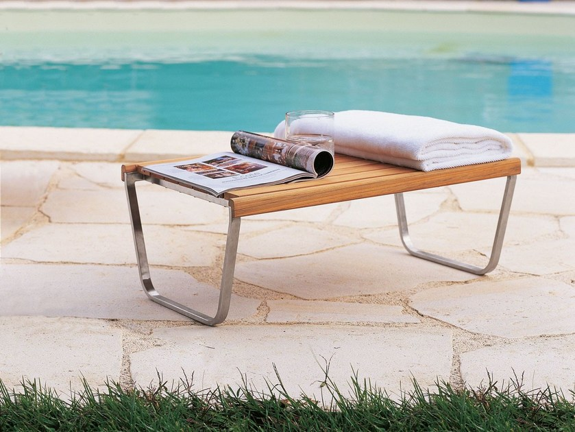 Sled base rectangular stainless steel and wood coffee table EQUINOX | Garden side table by Unopiù