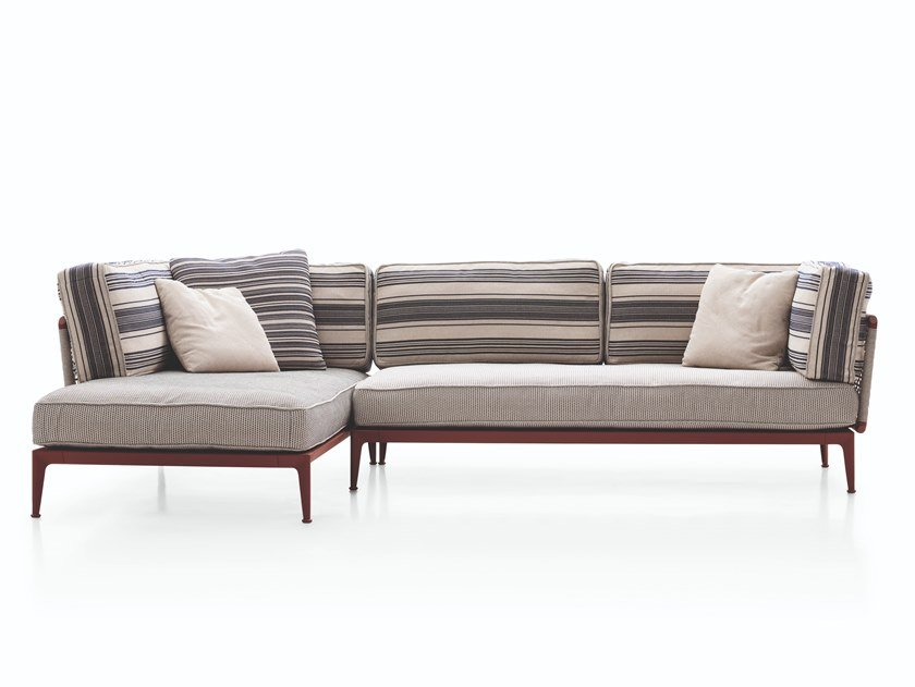 Fabric garden sofa with chaise longue RIBES | Garden sofa with chaise longue by B&B Italia Outdoor