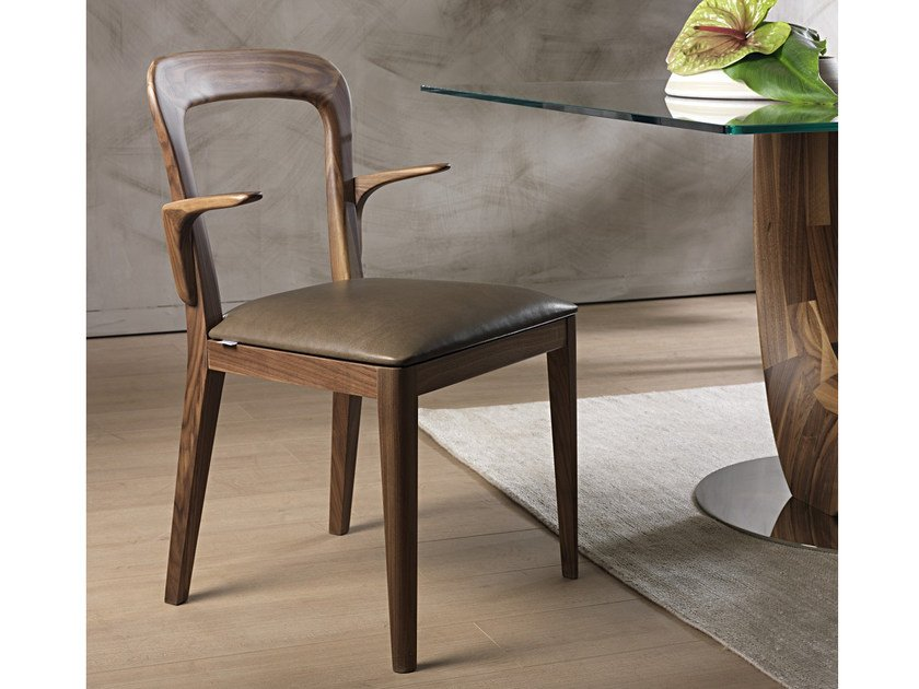 Upholstered open back chair GAYA | Chair with armrests by Pacini & Cappellini