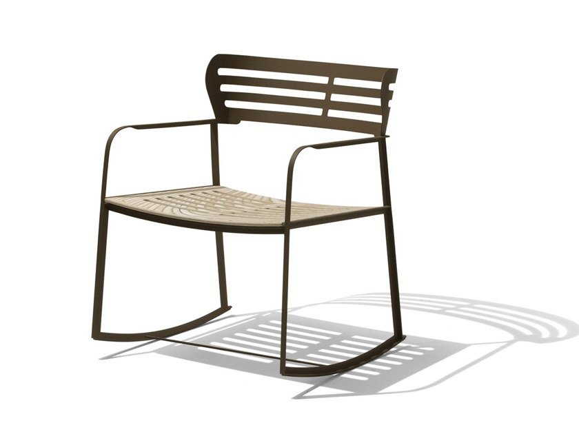Rocking garden easy chair with armrests GEA | Rocking easy chair by GIORGETTI