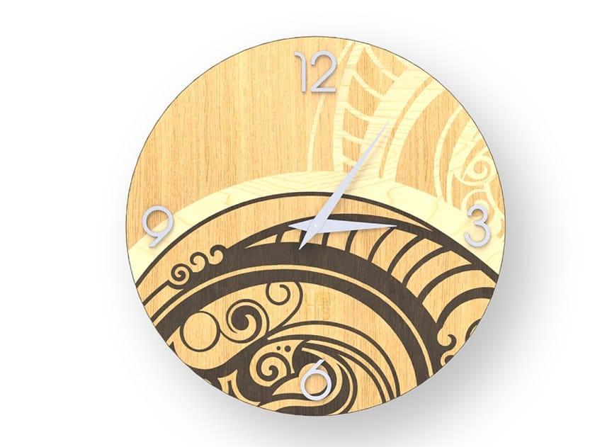 Orologio da parete in legno intarsiato GEAR WARM   Orologio by LIGNIS®