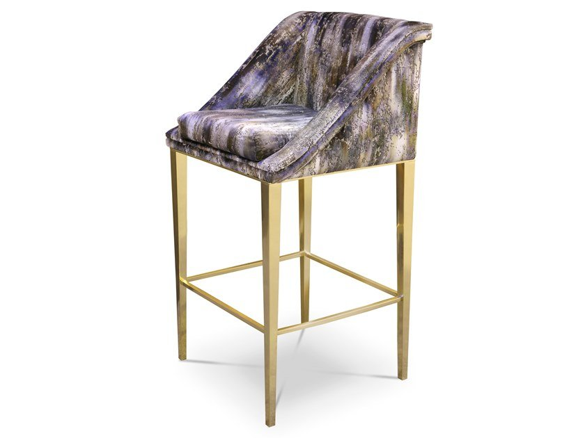 Upholstered fabric stool with footrest GEISHA | Stool by KOKET