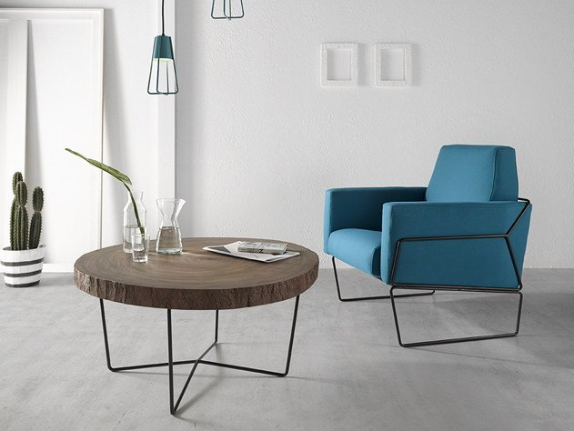 Low round steel and wood coffee table Coffee table TALI by Altinox