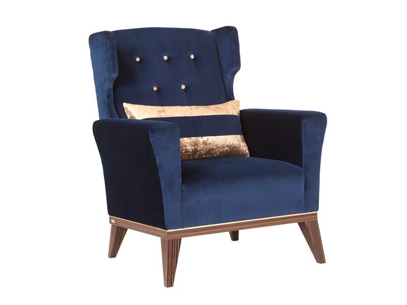 Upholstered velvet armchair with armrests GENEBRA by Green Apple