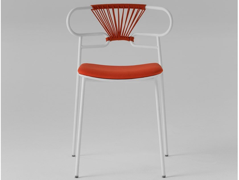 Stackable open back metal chair with integrated cushion GENOA | Open back chair by TrabA'