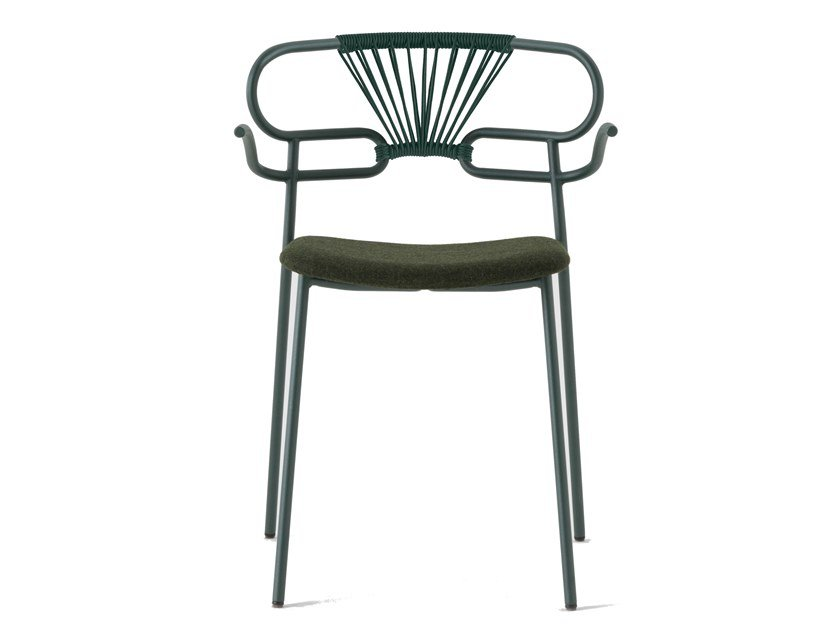 Metal chair with armrests with integrated cushion GENOA CROSS | Chair with integrated cushion by TrabA'