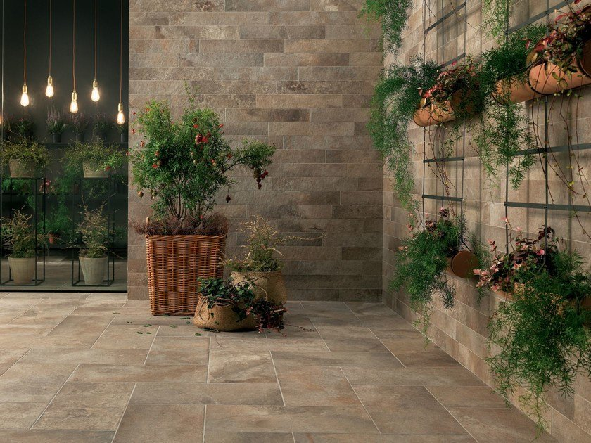 Outdoor wall/floor tiles with stone effect GEO SABLE by NOVOCERAM