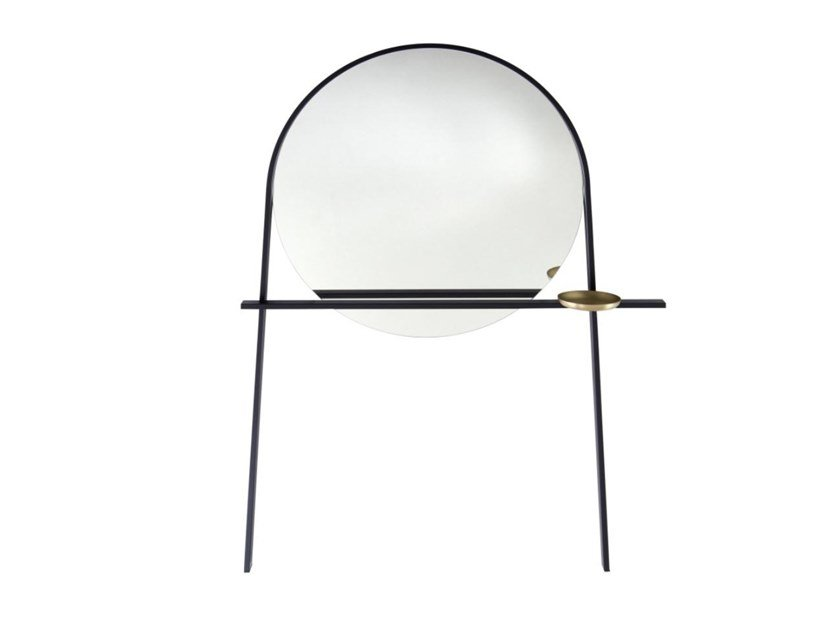 Round wall-mounted glass and steel mirror GEOFFREY by Ligne Roset