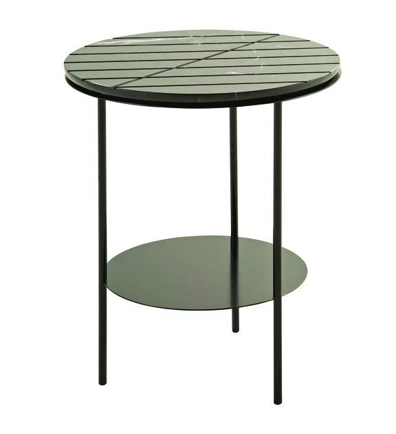 Round marble side table with integrated magazine rack GEOM | Round coffee table by ROCHE BOBOIS