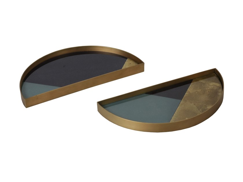 Round glass tray GEOMETRIC HALF-MOON by Notre Monde
