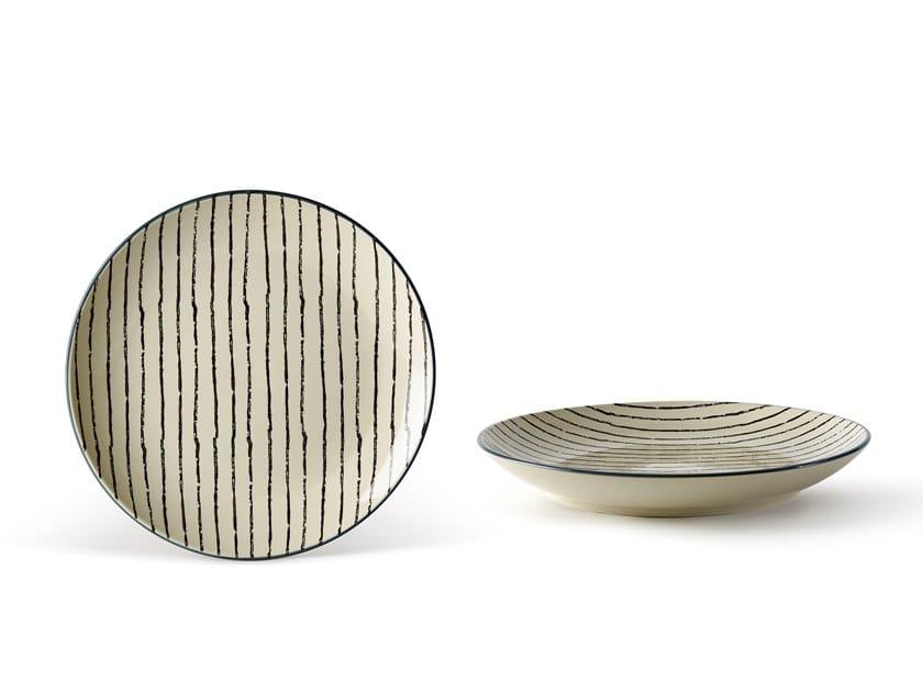 Porcelain stoneware dinner plate GEOMETRIE 1   Dinner plate by Fill