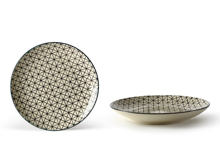 Porcelain stoneware dinner plate GEOMETRIE 3 | Dinner plate by Fill