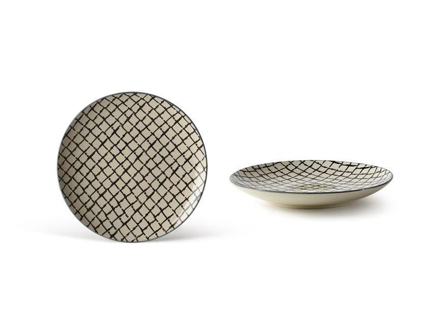 Porcelain stoneware dessert plate GEOMETRIE 4   Dessert plate by Fill