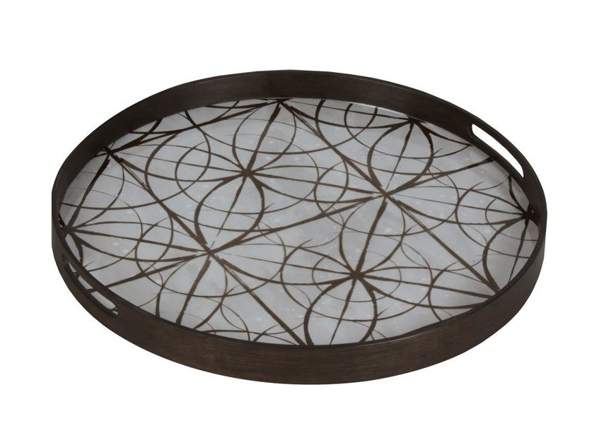 Round wood and glass tray GEOMETRY | Round tray by Notre Monde