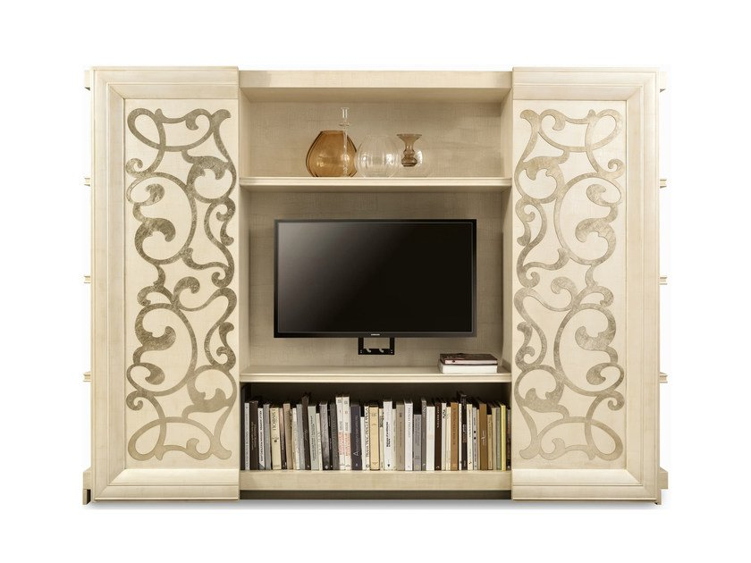 Wooden bookcase with TV stand GEORGE | TV cabinet by Cantori
