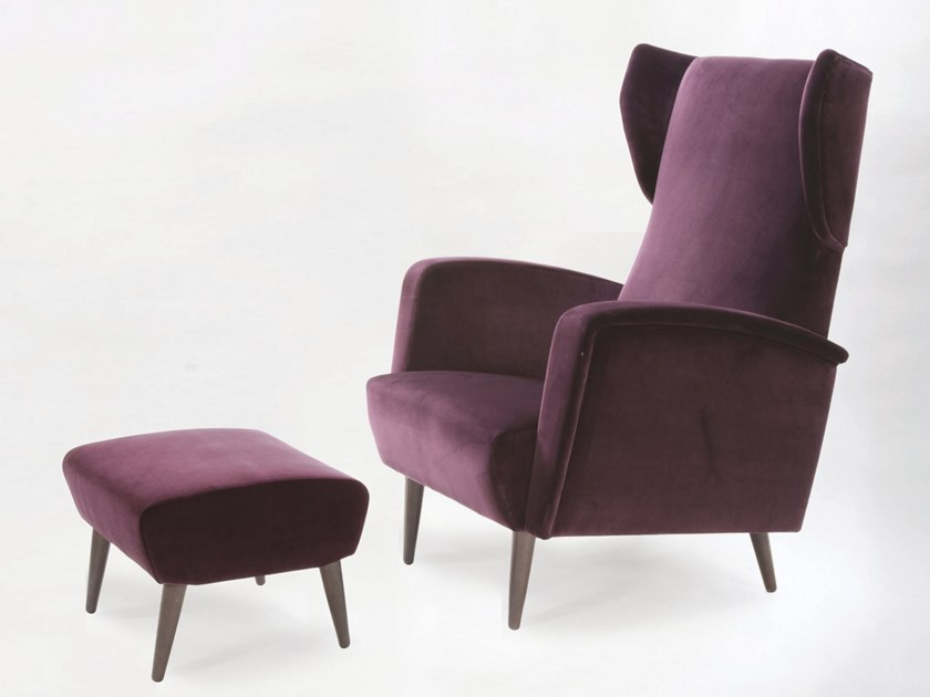 Wing upholstered fabric armchair with armrests GEORGE by H&Co