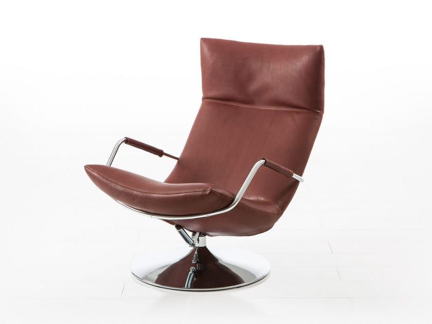 Swivel high-back leather armchair with armrests GERARD | High-back armchair by brühl