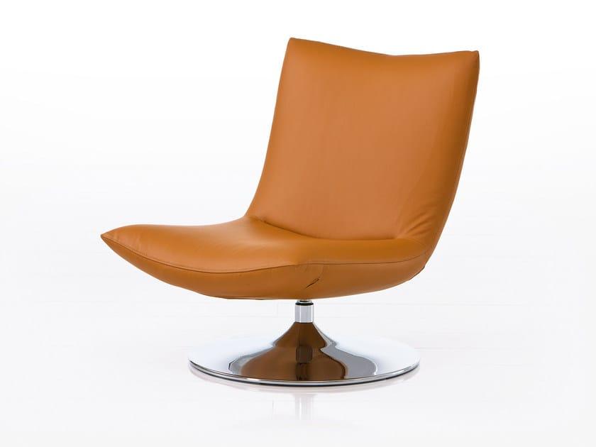 Swivel leather armchair GERARD | Leather armchair by brühl