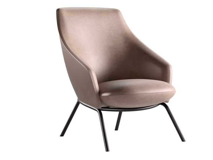 Leather easy chair with armrests GERMANA | Easy chair by JESSE