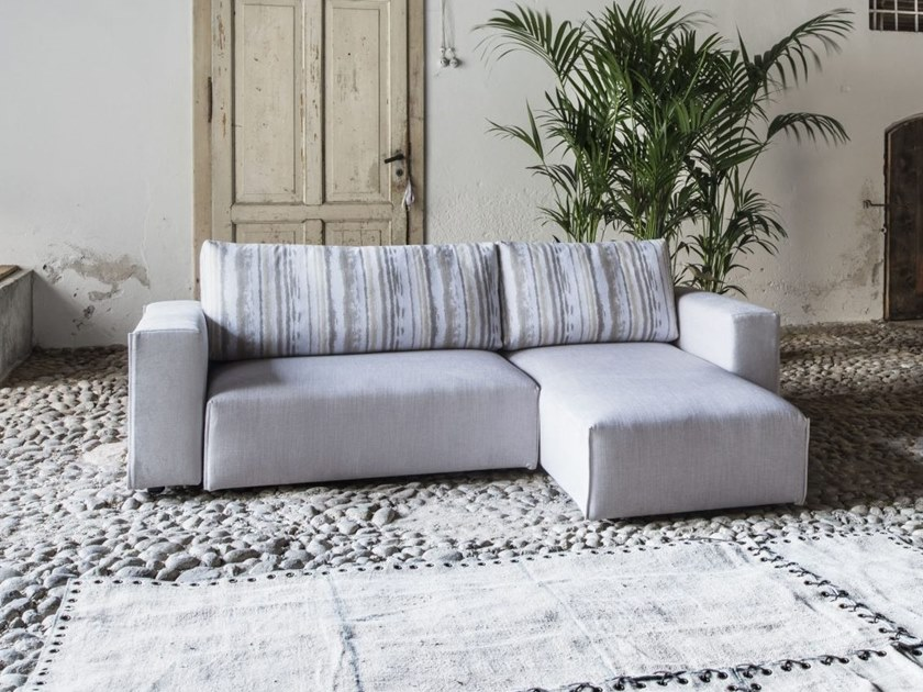 Fabric sofa with removable cover with chaise longue GERRY by Gobbo Salotti